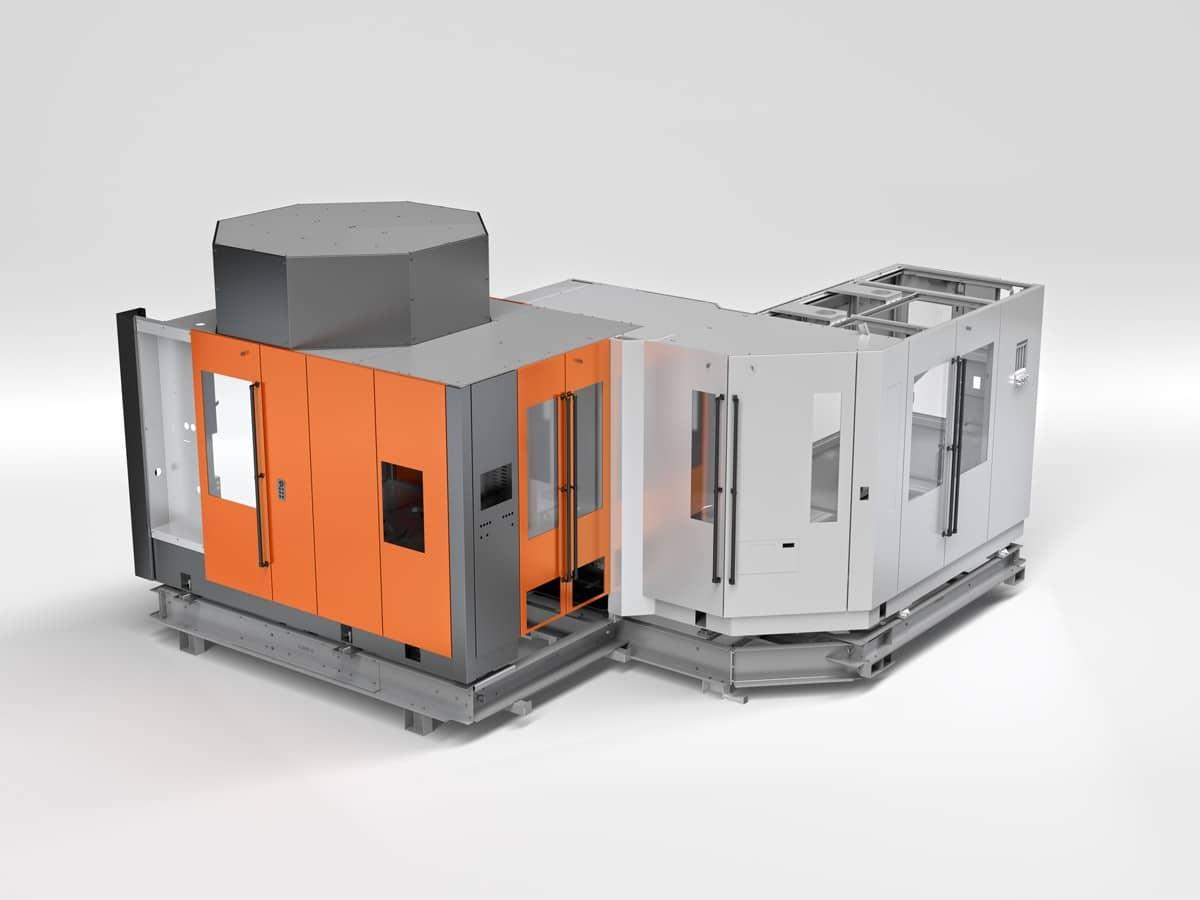 Streckblasmaschine in Rundlaufausführung - Rendering der Streckblasmaschine in Rundlaufausführung.