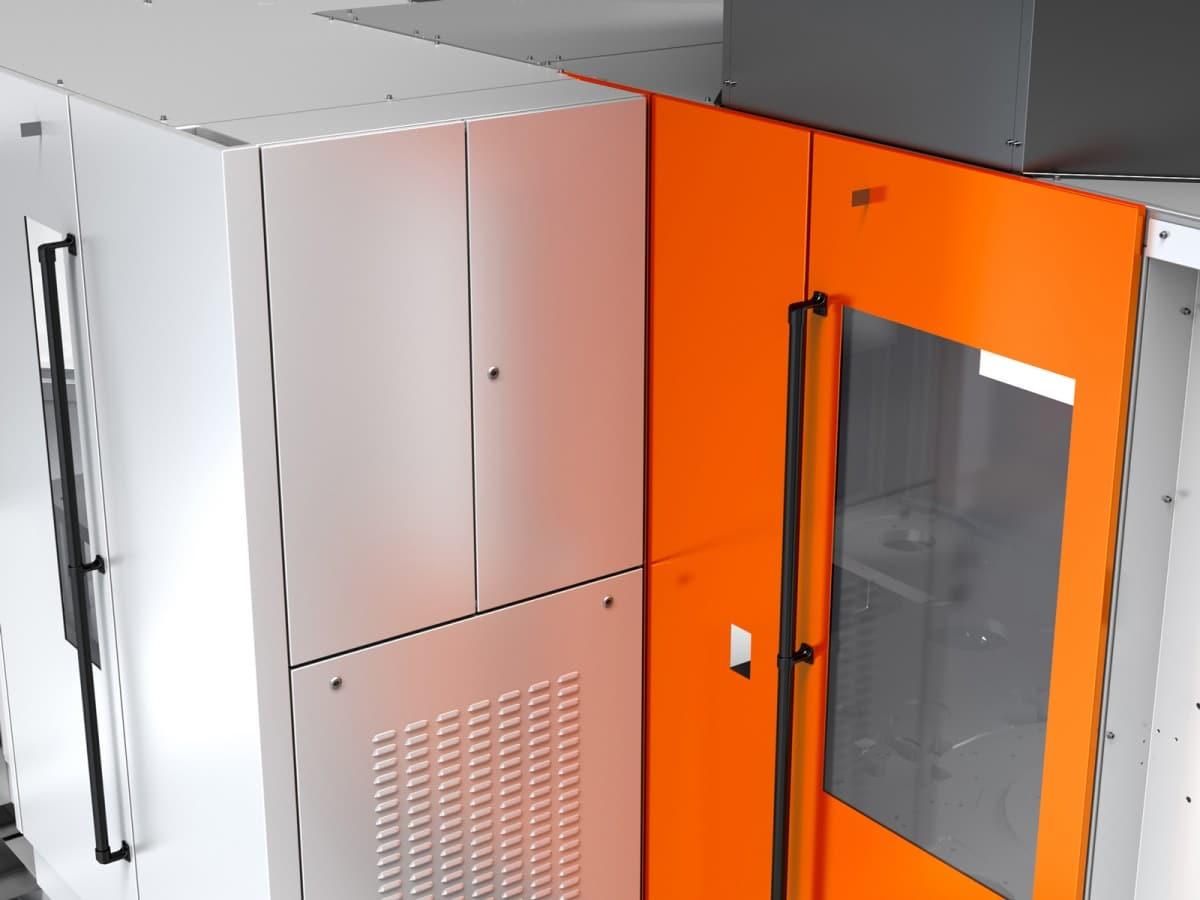 Streckblasmaschine in Rundlaufausführung - Detailansicht der wechselbaren Glas- und Kunststofffenster.