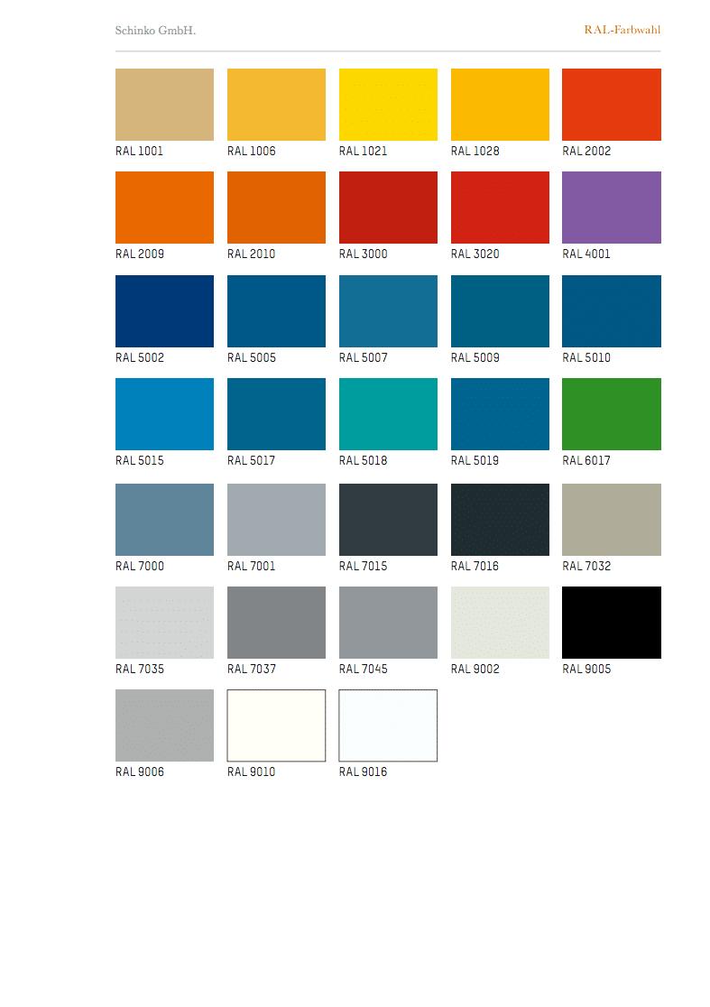 - Screenshoot  von Schinko RAL-Farbwahl.