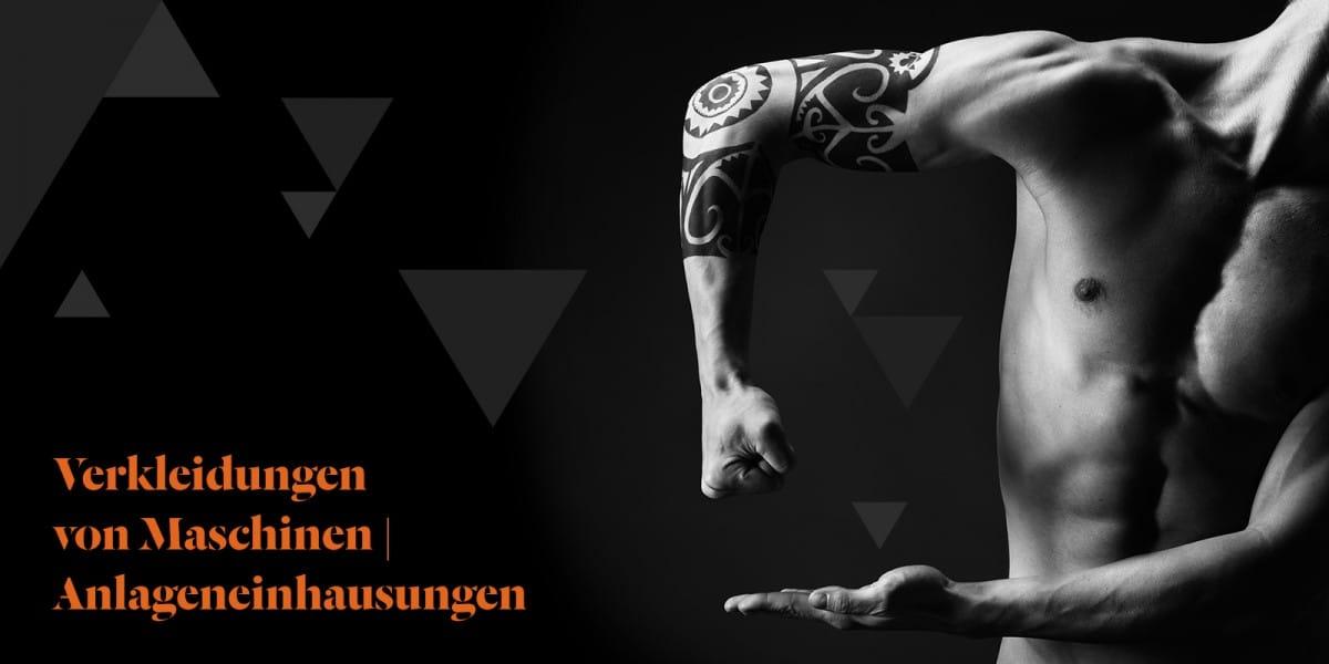 Imagebild Verkleidungen von Maschinen | Anlageneinhausungen – Mehr als die Hülle. - Frontansicht eines Mannes mit Tattoos am Arm.