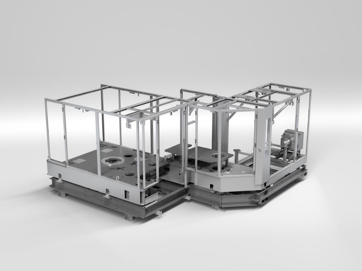 Streckblasmaschine in Rundlaufausführung - Rendering der einzelnen Modulen in Rahmenbauweise die miteinander verschraubt werden.