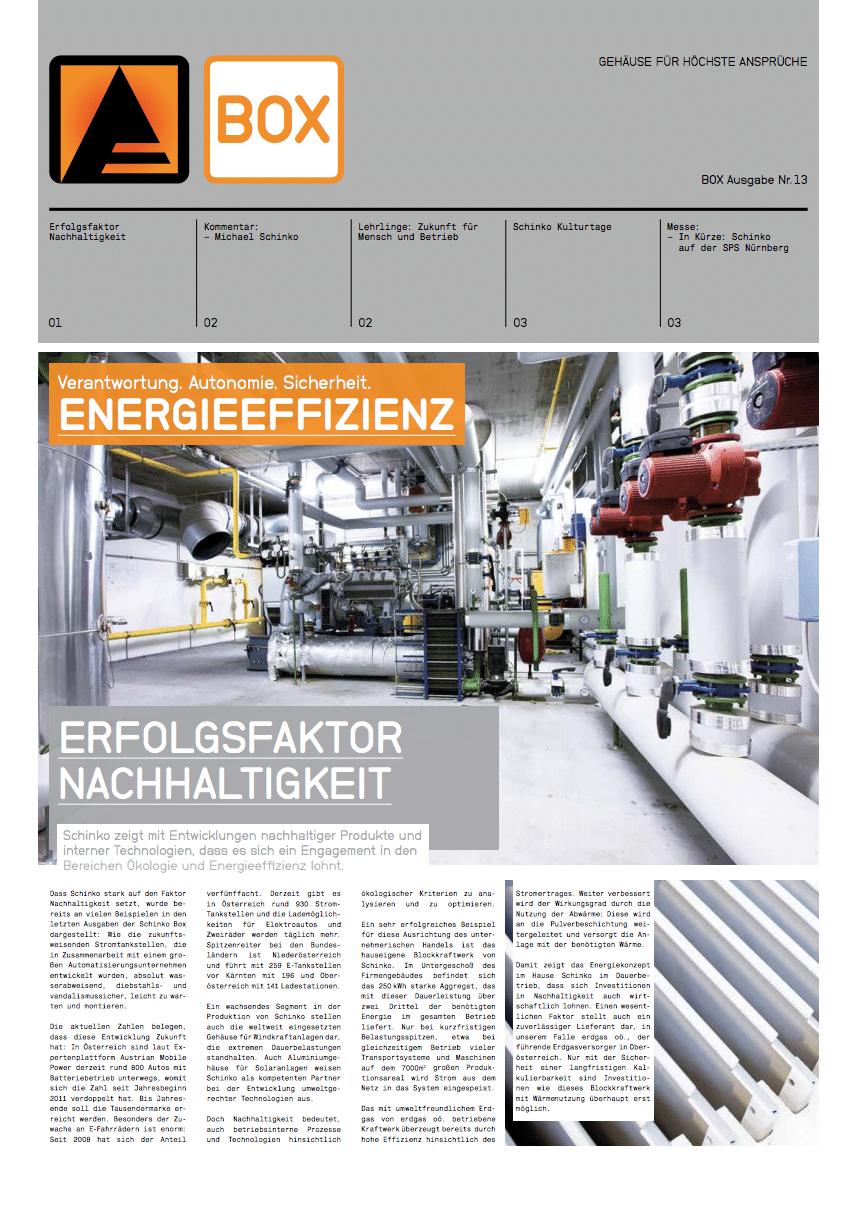 Titel Schinko Box 13 Energieeffizienz - Titelseite der  Ausgabe Nr. 13 der Kundezeitung Schinko Box.