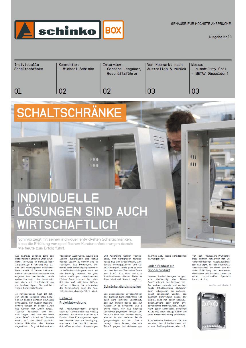 Titel Schinko Box 14 Schaltschränke - Titelseite der Ausgabe Nr. 14 der Kundezeitung Schinko Box.