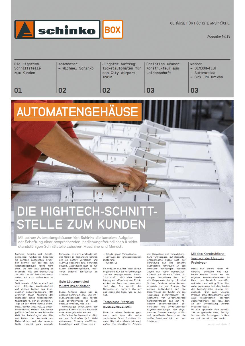 Titel Schinko Box 15 Automatengehäuse - Titelseite der Ausgabe Nr. 15 der Kundezeitung Schinko Box.