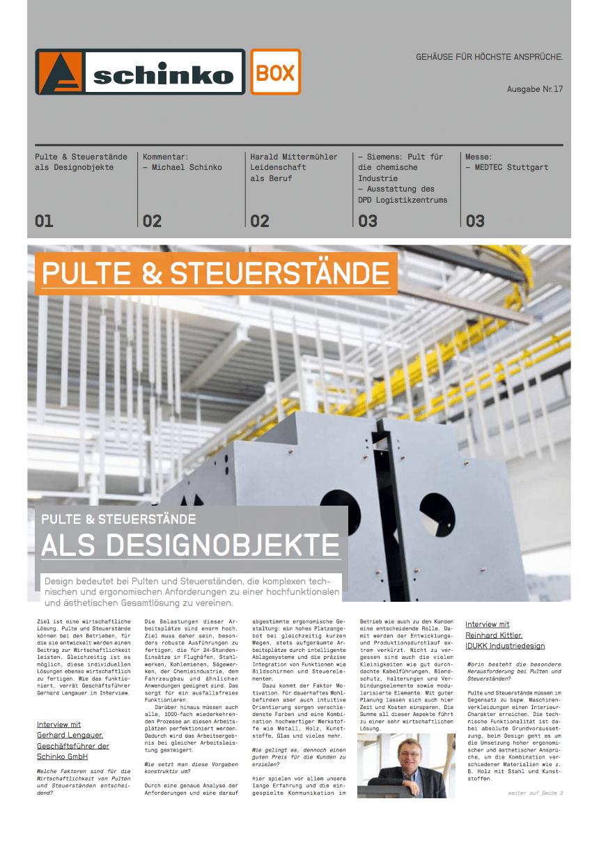 Titel Schinko Box 17 Pulte & Sterstände - Titelseite der Ausgabe Nr. 17 der Kundezeitung Schinko Box.