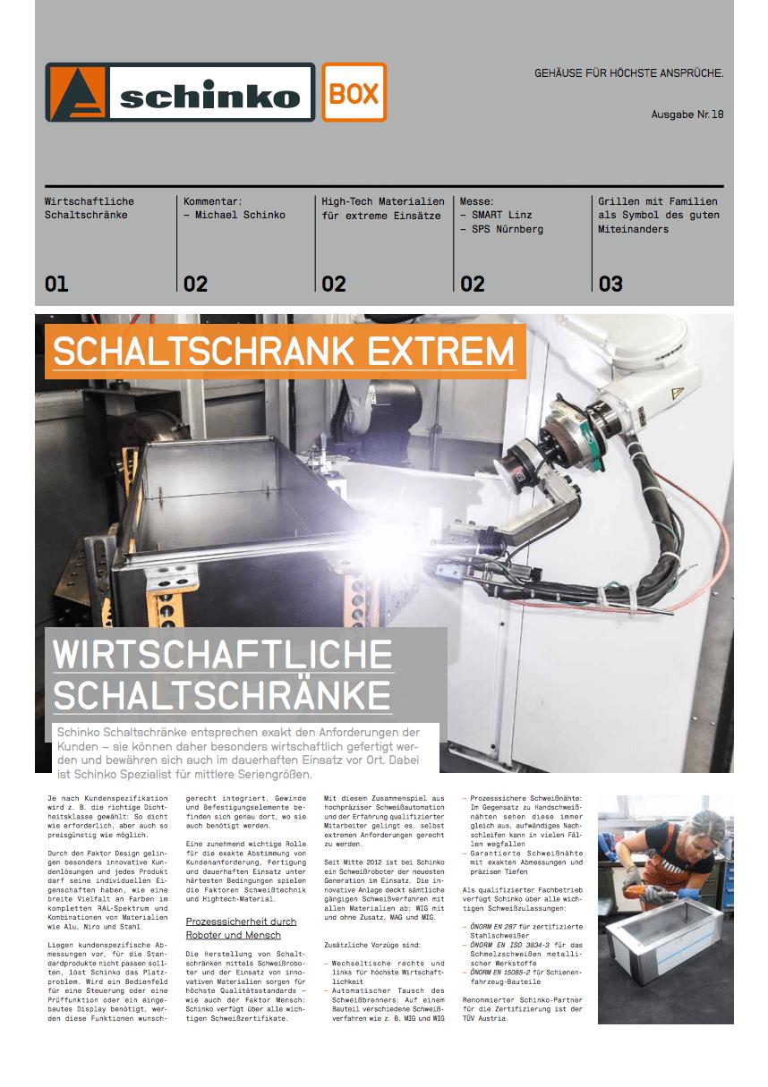 TitelSchinko Box 18 Schaltschrank Extrem - Titelseite der Ausgabe Nr. 18 der Kundezeitung Schinko Box.