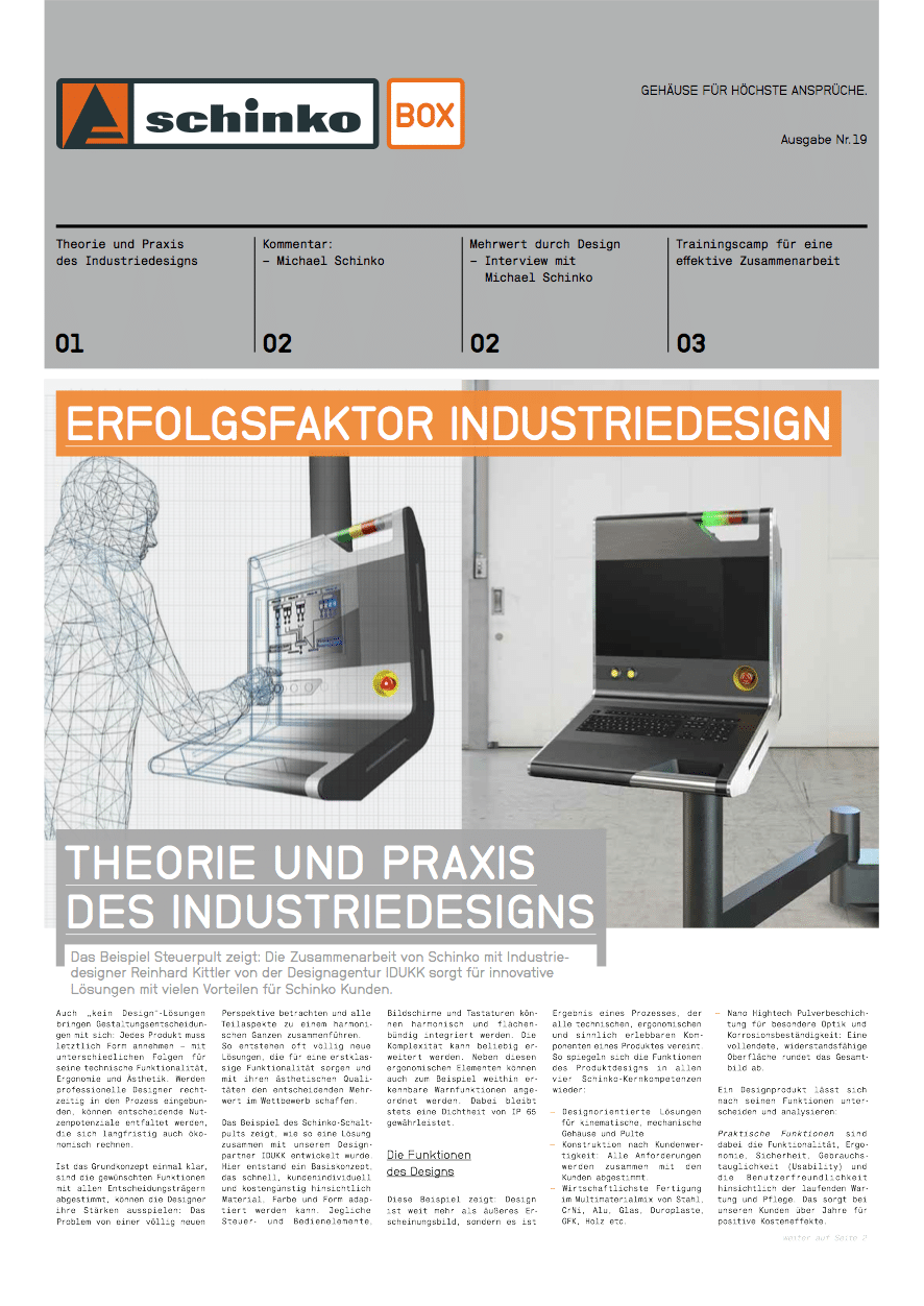 Titel Schinko Box 19 Erfolgsfaktor Industriedesign - Titelseite der Ausgabe Nr. 19 der Kundezeitung Schinko Box.
