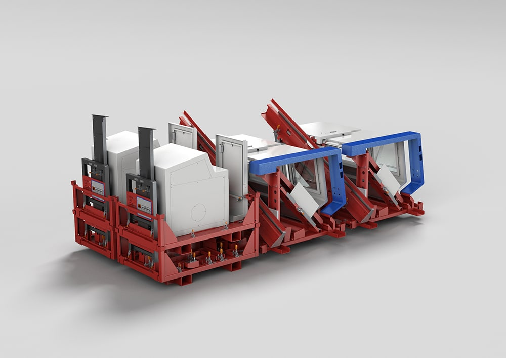 Die durchdesignte Logistikkette - Rendering der Zyklengesteuerte Drehmaschine auf Transportgestell.