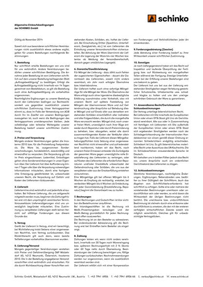 Schinko Einkauf AGBs - Vorschaubild der Allgemeinen Einkaufssbedingungen der SCHINKO GmbH.