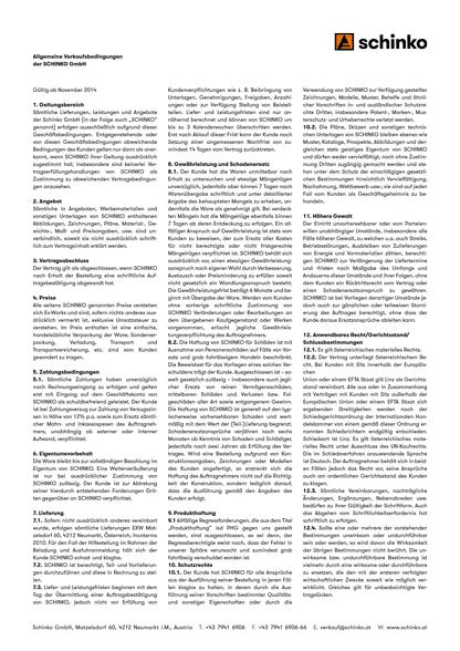 Schinko Verkauf AGBs Vorschaubild - Vorschaubild der Allgemeinen Verkaufssbedingungen der SCHINKO GmbH.