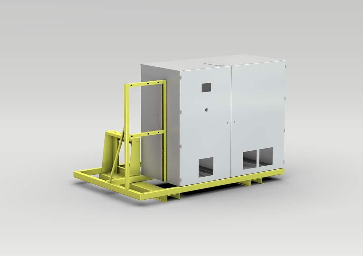 Schaltschrank für die Umwelttechnik / Hochfrequenztechnik - Schaltschrank für die Umwelt- und Hochfrequenztechnik auf Transportgestell.