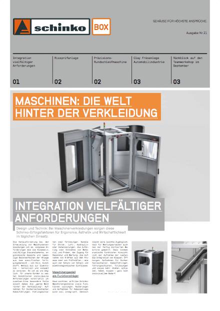Titel Schinko Box 21 Maschinen: Die Welt hinter der Verkleidung - Titelseite der Ausgabe Nr. 21 der Kundezeitung Schinko Box.