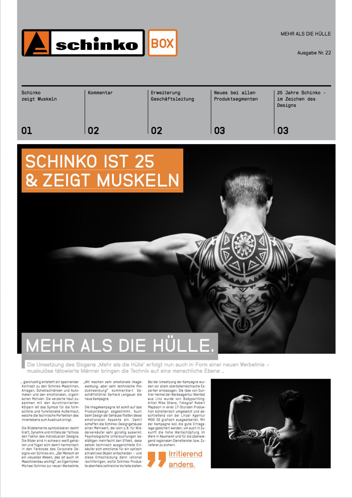 Schinko Box 22 Schinko ist 25 Jahre & zeigt Muskeln - Titelseite der Ausgabe Nr. 22 der Kundezeitung Schinko Box.