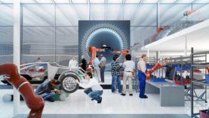 Die Schutzzäune verschwinden, Roboter und Menschen arbeiten in Zukunft an allen Stellen der Produktentstehung Hand in Hand: So jedenfalls die Vision, erfahrbar gemacht in der Forschungsfabrik ARENA2036, in der Forscher aus Wissenschaft und Wirtschaft gemeinsam arbeiten.