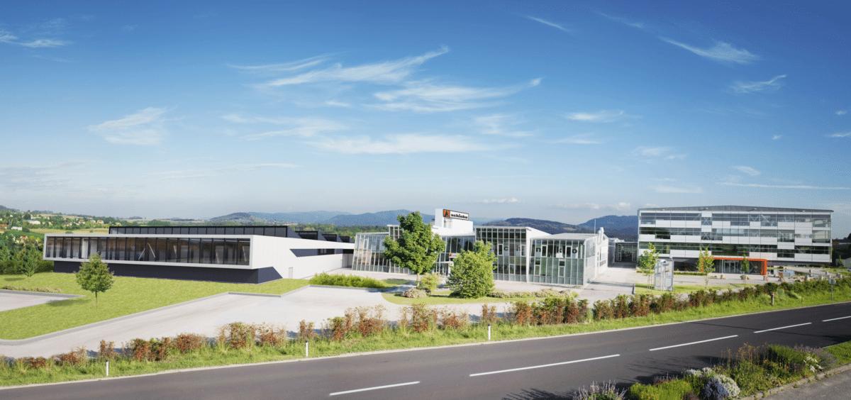 Mehr als eine Halle - Fotomontage der neuen Schinko Produktionshalle (Ost) (Rendering: imagefx)